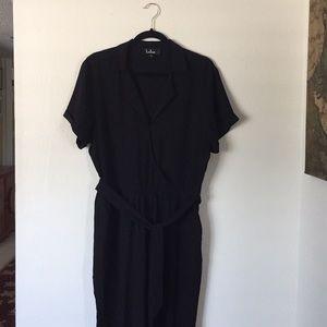 Lulu's faux wrap black jumpsuit